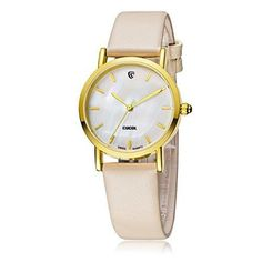 CUCOL Ladies Watch with Mother-of-Pearl Dial Swiss Quartz Movement Interchangeable Leather Straps