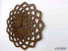 Huge Wooden Geometrical Star Silhouette - Wooden Wall Clock