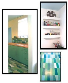 Marmoleum tiles as backsplash
