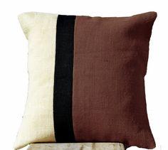 Burlap Taupe Pillow Color Block Decorative Cushion Cover Sofa Pillow