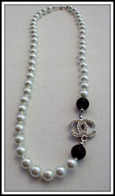Coco Chanel Pearl Necklace, Elegant Chanel CC Jewelry by ChiCbySB. via Etsy.
