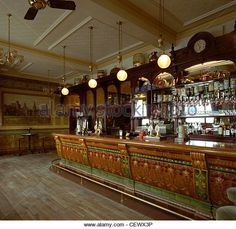 Tiled Bar in the Golden Cross Pub, Cardiff - Stock Image