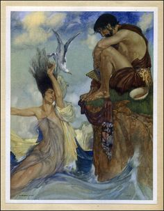 William Russell Flint - Theocritus Idyl VI To hear this makes her jealous of me,by Paean, and she wastes with pain,and springs madly from the sea