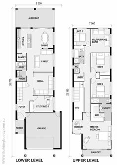 White Riceflower - Small Lot House Floorplan by http://www.buildingbuddy.com.au/home-designs-main/small-lot-house-plans/:
