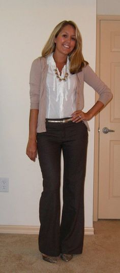 turquoise necklace black or dark grey trousers, beige cardigan, white blouse -- work / professional outfit