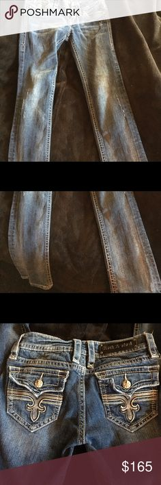 Skinny rocks Perfect condition except the e in revival is missing. I never wore these. The e got caught on something and popped off. Size 28 straight.Mainly wanting to trade for size 28 easy fit or 29-30 regular. Never worn just too small. Rock Revival Jeans