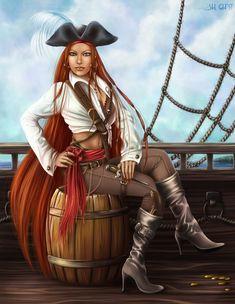 Girl pirate by Lady-Ghost on DeviantArt Pirate Queen, Pirate Art, Pirate Woman, Pirate Life, Lady Pirate, Dark Fantasy, Fantasy Art, Renaissance Festival Costumes, Westerns