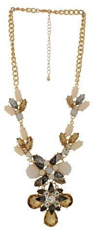 "FAF Incorporated Women's Chain Necklace with Stones- Gold/Ivory (18"")"
