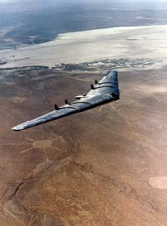 Northrop YB-49 at Muroc Dry Lake. (Named after the Pilot, Glen edwards flying this plane after the bomber prototype here went into an unrec...