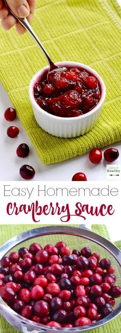 This easy homemade cranberry sauce will be the perfect finishing touch to your Thanksgiving meal. So simple and delicious!   APinchOfHealthy.com