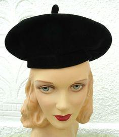 656c32c555cc4 Vintage 1940s Merrimac Savoy Woman s Black Berret Style Hat 21