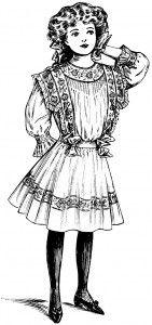 vintage clip art child, victorian girls fashion, vintage fashion sketch, black and white clipart, vintage girl dress illustration