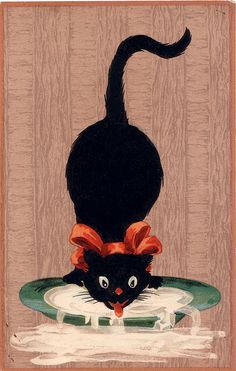 "Chat noir qui lappe du lait, Vers 1920 - Carte postale anglaise ""Mish & Co's: The black cat series"""