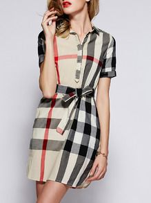 Shop Beige Lapel Short Sleeve Check Drawstring Dress at ROMWE, discover more fashion styles online. Vintage Dresses, Nice Dresses, Burberry Dress, Gamine Style, Romwe, Clothes 2019, Chic Dress, Dress P, Get Dressed