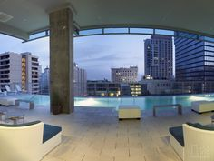 Such a stunning roof top pool at this Los Angeles apartment! We'd like to be able to swim here every weekend! Plus that view! Watermarke Towers: Los Angeles, CA.