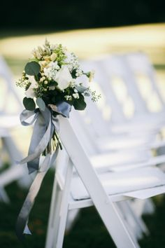 Aisle option 1 all white flowers hand tied $50