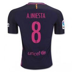 Barcelona 16-17 Andres Iniesta 8 Borta matchtröja Kortärmad  #Billiga Fotbollströjor