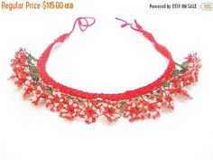 ON SALE Needle Crochet necklace Needle Lace Cool Jewelry