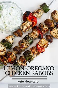 Keto and low-carb, these tasty Lemon-Oregano Chicken Kabobs are as impressive to look at as they are delicious to eat! Marinade, grill, and eat! Chicken Kabob Recipes, Low Carb Chicken Recipes, Chicken Kabobs, Low Carb Dinner Recipes, High Protein Recipes, Recipe Chicken, Bbq Chicken, Grilling Recipes, Lunch Recipes