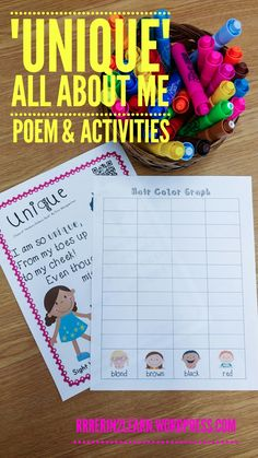 All about me poem and ELA, social studies, and math activities. Perfect for kindergarten, Pre-k or first grade!