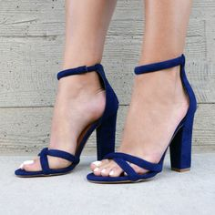 Nail your #GNO look in these super hot chunky heels! #heels #chunky #blue…