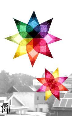 Des étoiles en papier ou en tissu coloré : un pliage lumineux et poétique, qui égaillera de ses belles couleurs les fenêtres et les chambres d'enfants. [c'est facile, c'est peu co…