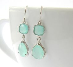 Aqua Earrings  Mint Blue Ice Earrings  Silver by DanaCastle, $31.50