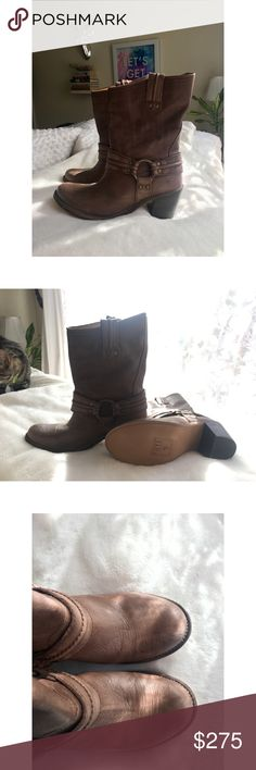 FRYE NBW boots Never been worn. Harness, low rider boot. Unlined.   Sadly purchased a size too small. Frye Shoes Heeled Boots