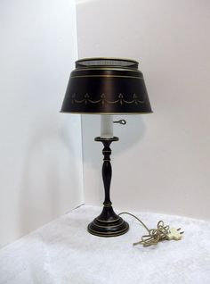 Black Gold Toleware Table Lamp Black Mid Century by donDiLights