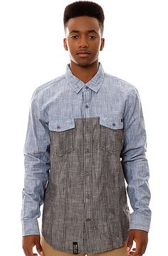 The Low Down LS Buttondown Shirt in Grey Blue by LRG