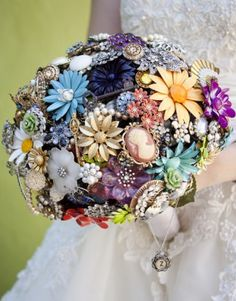 "Bouquet made from brooches...one, like the cameo in the pic, could be the ""something borrowed"""