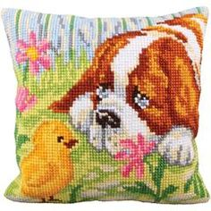 "Encounter Stamped Cross Stitch Pillow Cushion Kit 16"" x 16"""