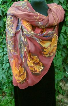 Natural silk shawl  floral claret hand painted by Studijakalla, $333.00