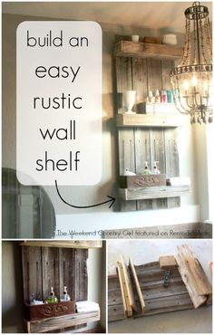 Build an easy rustic wall shelf using old fencing wood. Nice simple style, easy to build. Remodelaholic.com