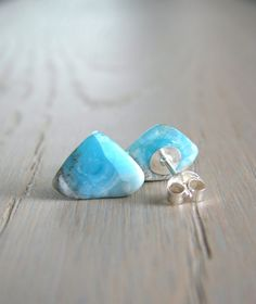 Rough Stone Studs Raw Hemimorphite Stone Jewelry by Gemologies
