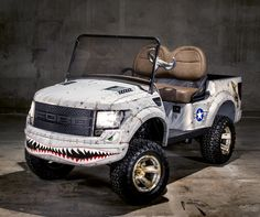 $150,000 Custom Airbrushed Ford Raptor Golf Cart inspired by the P51 Mustang. 100% of Proceeds go to Marines! Check it out here!