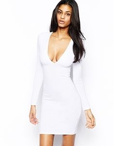 Asos Deep Plunge Long Sleeve Bodycon Dress in White 4307033327e6