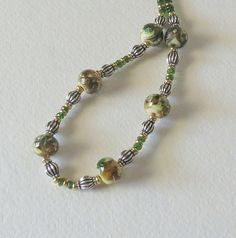 Chrome Diopside Necklace with Lampwork Beads, Gold Filled Beads and Sterling Silver, Handmade Necklace, Statteam