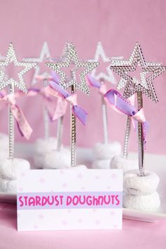 Rockstar Party ~ Stardust Doughnuts,  An easy treat to serve...powdered doughnuts with a rock star wand