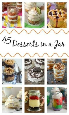 45 Desserts in a Jar Want some super fun, super cute, and heck, even portion controlled sweets and treats? Look no further than this collection of 45 Desserts in a Jar. Mason Jar Desserts, Mason Jar Meals, Meals In A Jar, Mini Desserts, Easy Desserts, Delicious Desserts, Dessert Recipes, Yummy Food, Mason Jars