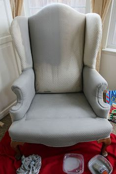 Spray Painting Upholstery With Success From The Sassy Pepper Blog.