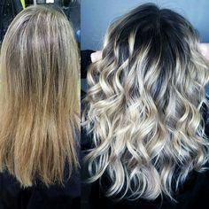 From highlights to stretched root balayage. Beige blonde hair by Ashton @ Splat Hair Design