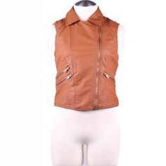 Vest Carmel only**** FAUX LEATHER MOTORCYCLE VEST-Plus Fabric:	100%POLYURETHANE Made In:	CHINA  1x 10/12 2x 14/16 3x 18/20 Boutique Jackets & Coats Vests