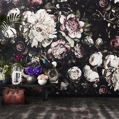 Dark floral ii black saturated xl wallpaper by ellie cashman dark floral wallpaper Trendy Wallpaper, Flower Wallpaper, Floral Wallpapers, Moody Wallpaper, Vinyl Wallpaper, Large Floral Wallpaper, Dark Flower, Ellie Cashman Wallpaper, Flower Power