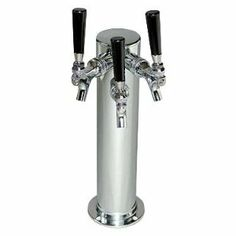 """Draft Beer Tower Chrome Triple Faucet 3 Inch Column by Beverage Factory. $149.53. Black ABS Plastic Knobs. Dimensions: 3"""" Diam. x 14-3/8"""" H. 3 Chrome-Plated Faucets with Brass Levers. Mounting Gaskets and Screws Included. This Chrome single-column draft beer tower is insulated to keep the beer cool during dispensing. This tower features 3 faucets with brass levers and black ABS plastic knobs. It measures 3 inches in diameter and 14-3/8 inches in height. Includes gas..."""