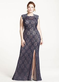 Super sexy and ultra-chic, you will not go unnoticed in this long lace dress!  Cap sleeve bodice with ultra-feminine sweetheart lace neckline and eye-catching keyhole back.  Long lace skirt with slit features dazzling beading detail.  Fully lined. Back zip. Imported polyester/nylon/spandex blend.  Hand wash gently, inside out in cold water. Do not wring or twist.Also available in Missy sizes as Style 3329MT4D.