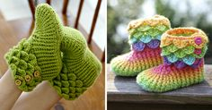 Dragon Slippers With Crochet Scales To Keep Your Toes Warm Because Winter Is Coming | Bored Panda