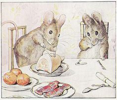 Two Bad Mice- One of my all time favorite stories. The tale of Hunka Munka and Tom Thumb, the original mousey felons, breaking and entering, grand theft, and vandalism. Old Beatrix Potter knew how to spin a page turner Beatrix Potter Illustrations, Beatrice Potter, Peter Rabbit And Friends, Pet Mice, Children's Book Illustration, Woodland Illustration, Woodland Creatures, Illustrators, Book Art