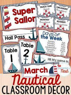 Nautical Classroom Decor: Classroom Decor Collection to transform your classroom- pick a scheme or a theme to make your classroom decorated and organized