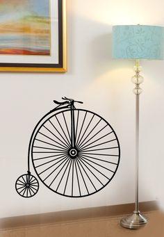 Antique Big Wheel Bicycle Vinyl Wall Decal by InfinityDecals. $30.00, via Etsy. - bathroom